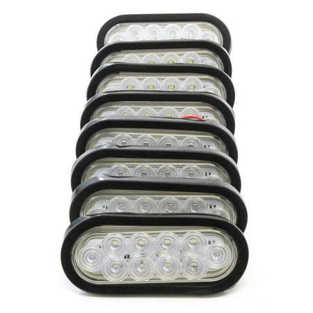 "(8) 6"" Oval Clear LED Reverse Back-up Light Flush Mount Trailer Truck"