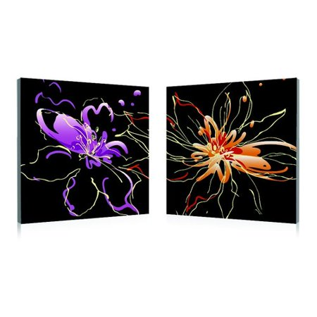 Artistic Bliss Abstract Flower on Black Background 2 Piece Graphic Art Set