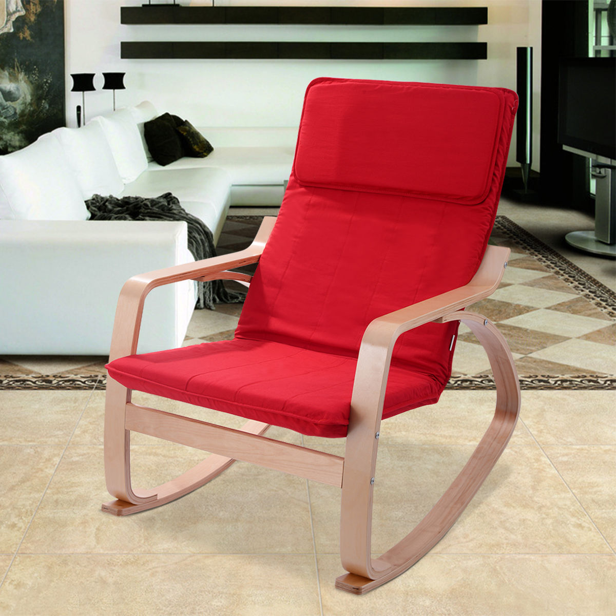 Costway Red Rocking Chair Armchair Leisure Lounge Accent Living Room Furniture by Costway