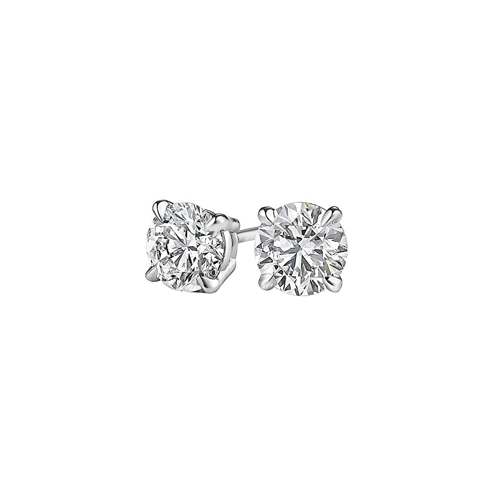 Round Natural Diamond Stud Earrings Screw Back in Gold - image 2 of 2