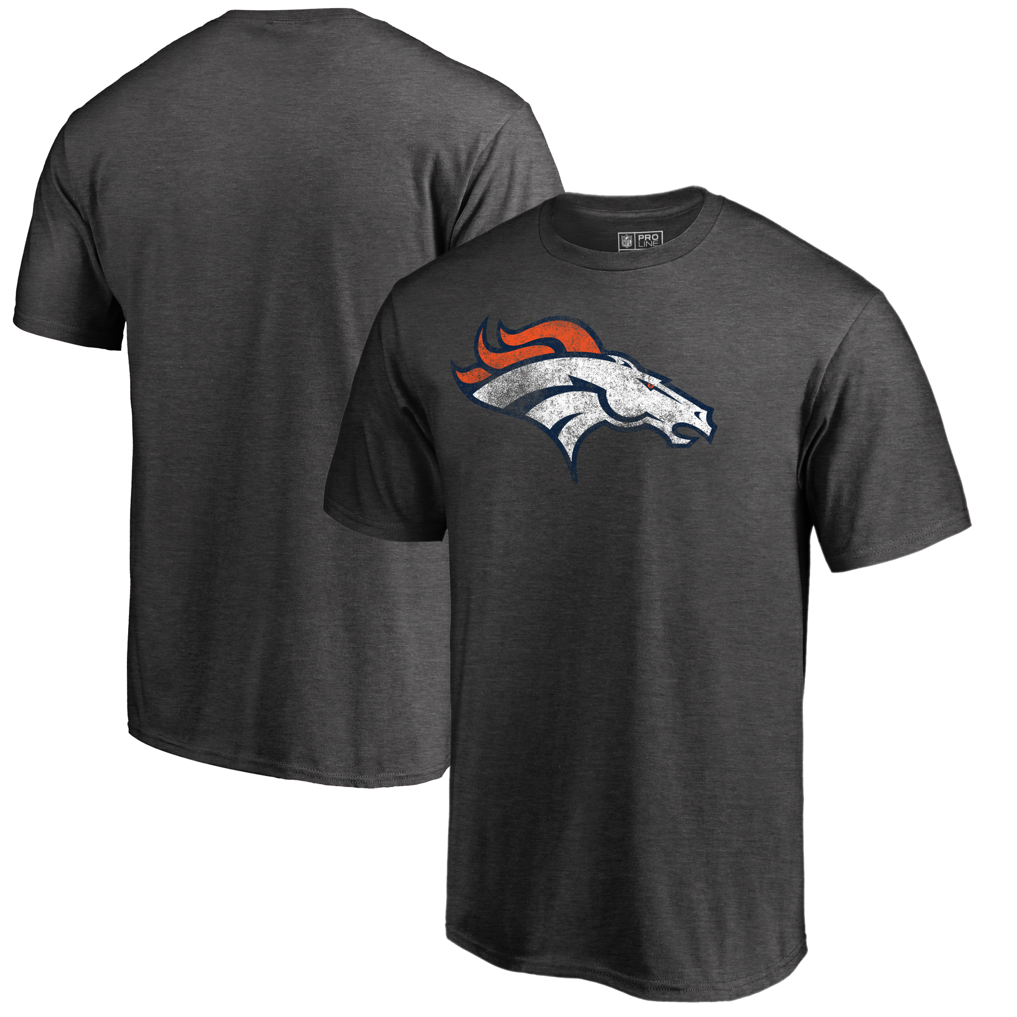 Denver Broncos NFL Pro Line by Fanatics Branded Big & Tall Distressed Team Logo T-Shirt - Charcoal