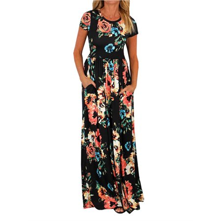 Short Sleeve Floral Print Women Casual Long Maxi Dress