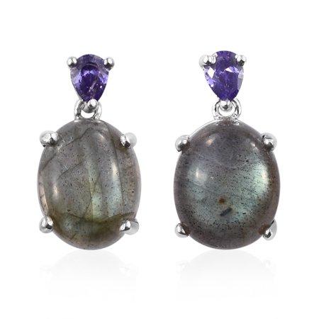 Oval Lapis Lazuli Cubic Zircon CZ Dangle Drop Earrings Gift Jewelry for Women