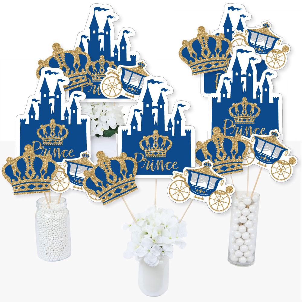 Royal Prince Charming - Baby Shower or Birthday Party Centerpiece Sticks - Table Toppers - Set of 15