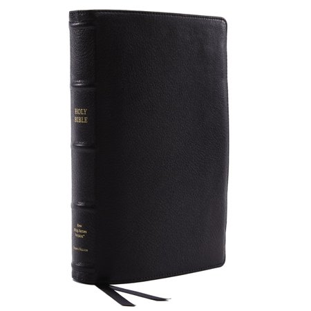 Nkjv, Reference Bible, Classic Verse-By-Verse, Center-Column, Premium Goatskin Leather, Black, Premier Collection, Red Letter Edition, Comfort (Bible Verse To Comfort Loss Of A Child)