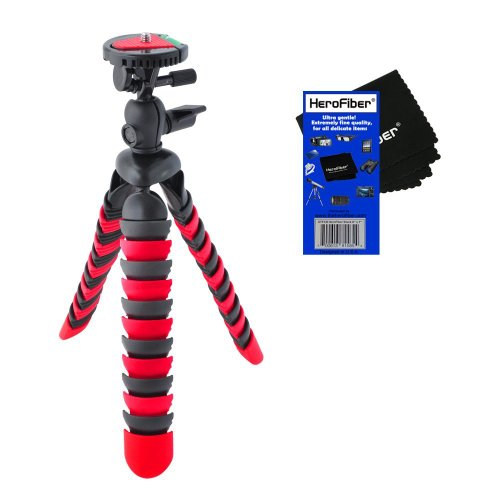 "12"" Flexible Wrapable Legs Tripod with Quick Release Plate and Bubble Level (Red/Black) for Canon Powershot G15, G16 & D20 Digital Cameras w/ HeroFiber® Ultra Gentle Cleaning Cloth"