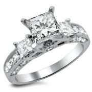 Noori Collection Noori 14k White Gold 1 1/2ct TDW Princess-cut Diamond 3-stone Engagement Ring