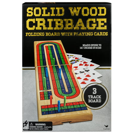 - Solid Wood Cribbage Folding Board with Playing Cards