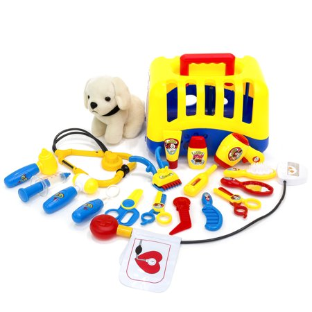 Best Choice Products 20-Piece Kids Dog Vet Groomer Medical Kit Toy Set w/ Puppy Plush, Carrier and Handle, Tools -