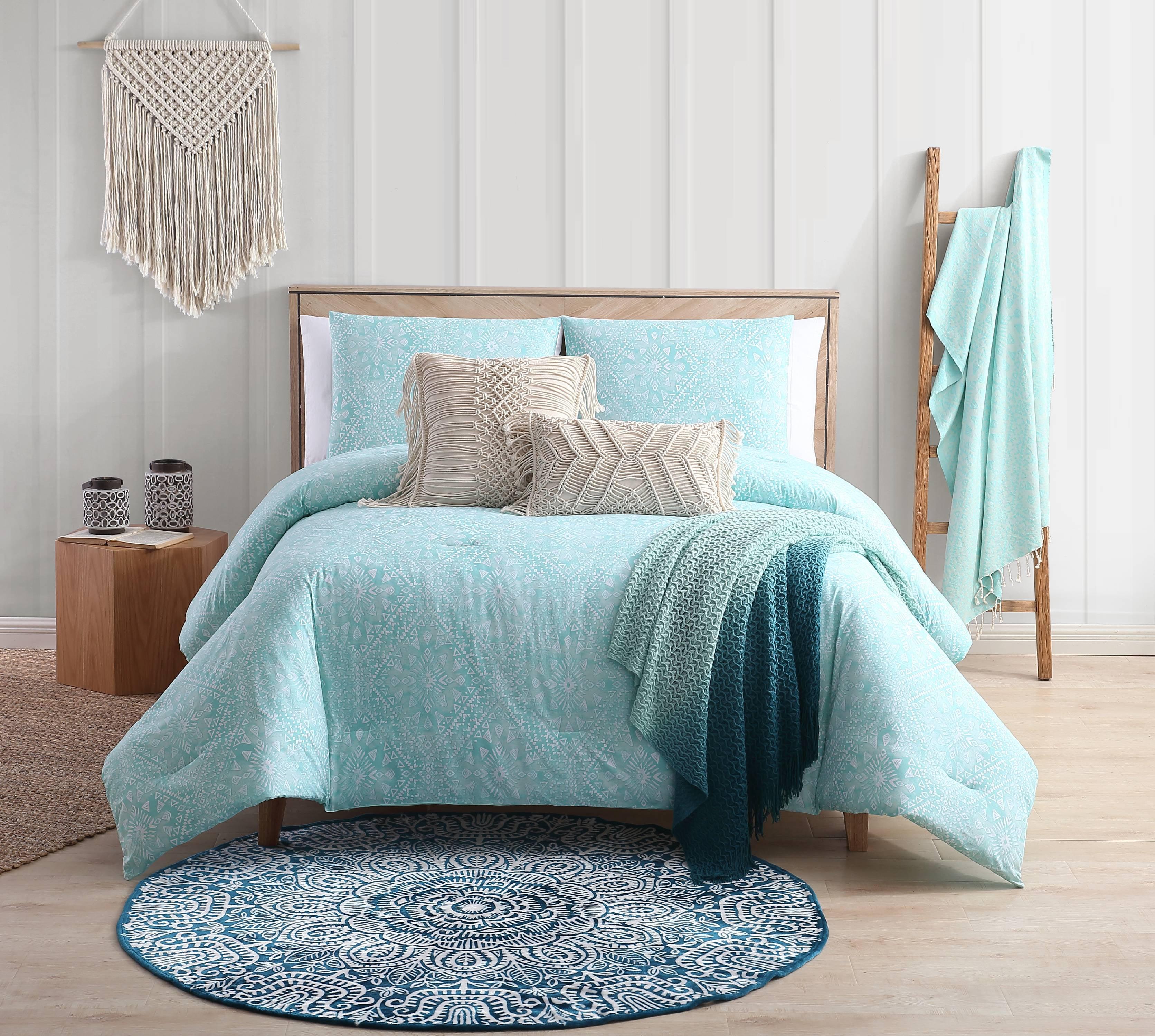 Sand Cloud Kaibu Isle Aqua Boho Block Print Reversible Comforter Set Walmart Com Walmart Com