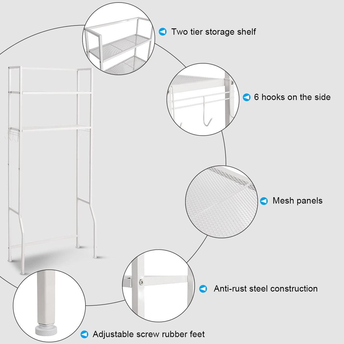 2 Tire Space Saver Storage Rack Over Washing Machine Laundry Toilet Bathroom