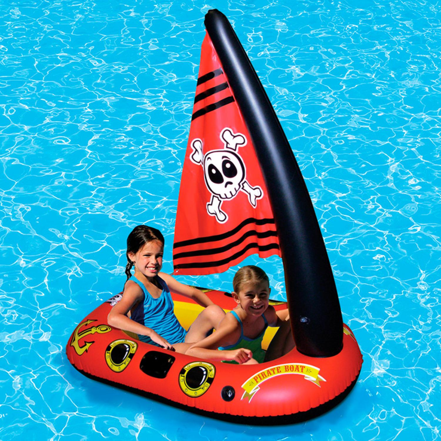 57 Quot Red Inflatable Pirate Boat Swimming Pool Float With