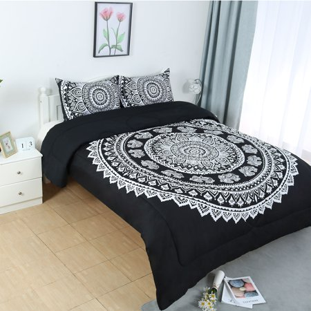 Full All-season Quilted Comforter Set Bohemian Black w 2 Pillow Cases ()