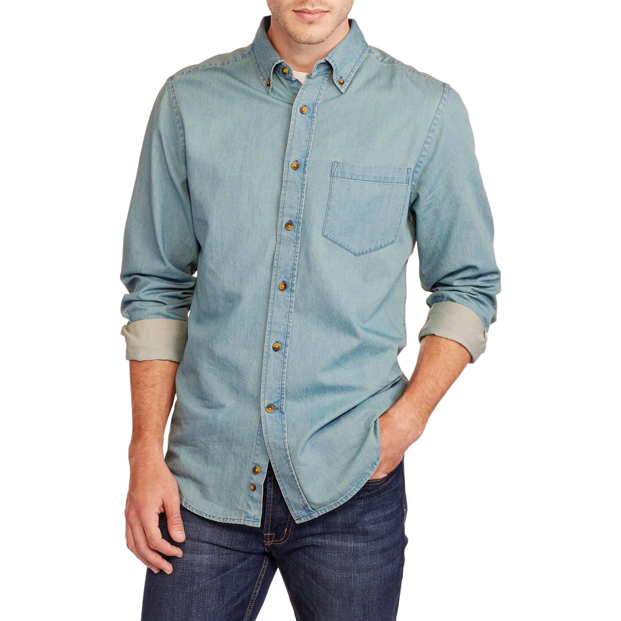 Faded Glory Men's Long Sleeve Chambray Shirt