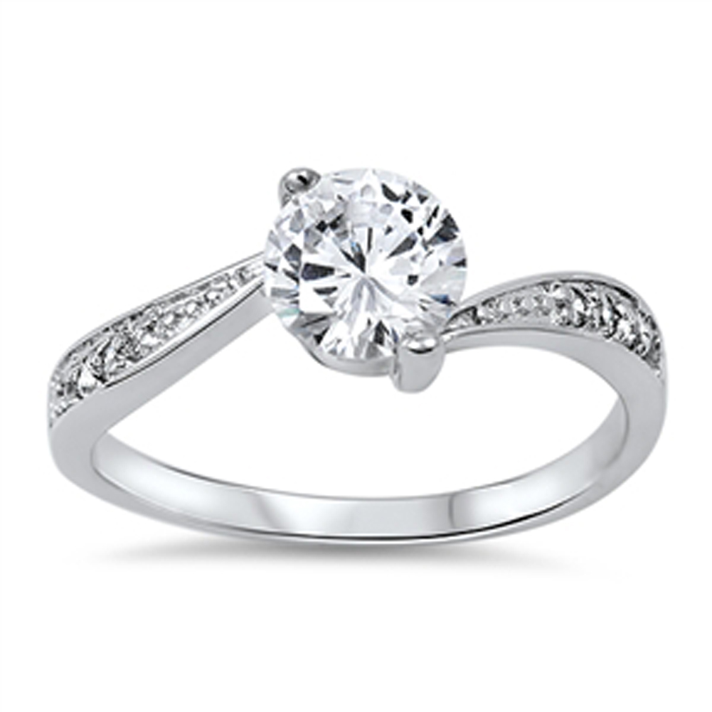 Wedding Solitaire White CZ Promise Ring ( Sizes 4 5 6 7 8 9 10 ) New .925 Sterling Silver Band Rings by Sac Silver (Size 7)