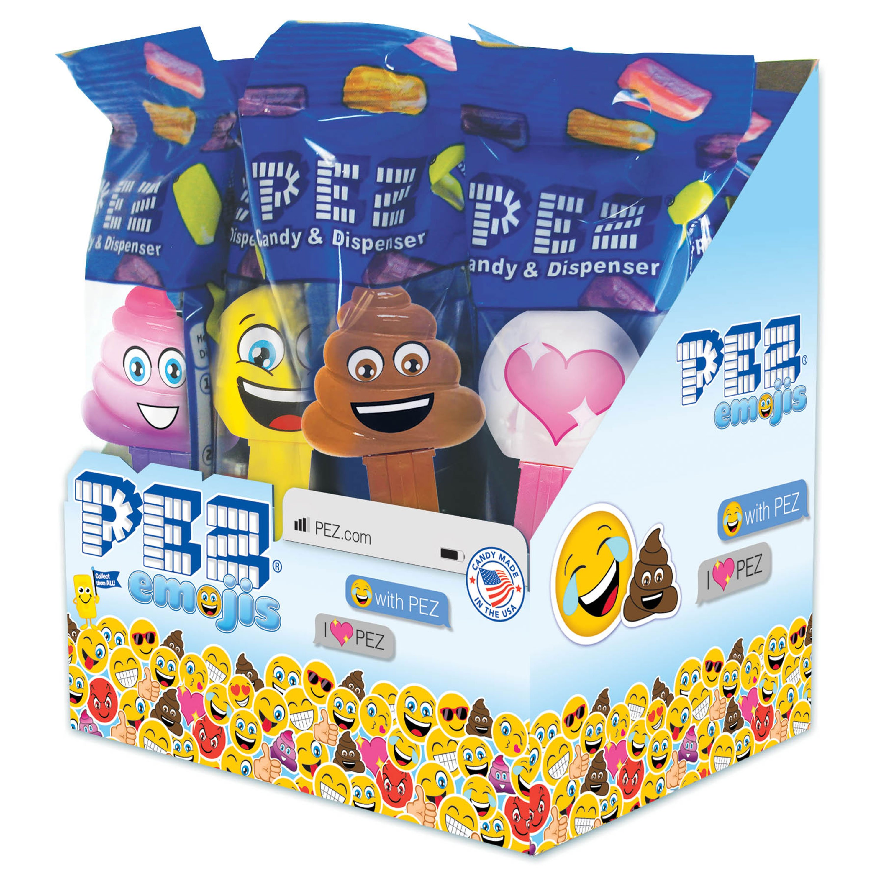 PEZ Candy PEZemojis Assortment, candy dispenser plus 2 rolls of assorted fruit candy, box of 12