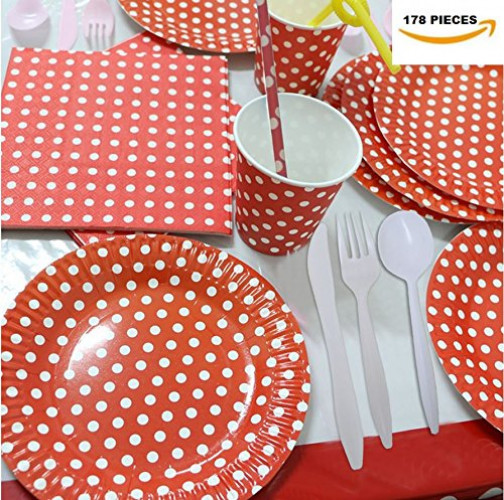 "Holiday Combo Pack Red and White Polka Dot Party Pack For 16 Guest, 178 Pieces. Includes 32 Forks,16 Spoons, 16 Knives, 16 9"" Plates, 16 7"" Plates, 2 Tablecloths, 20 Cups, 20 Straws, 40 Napkins."