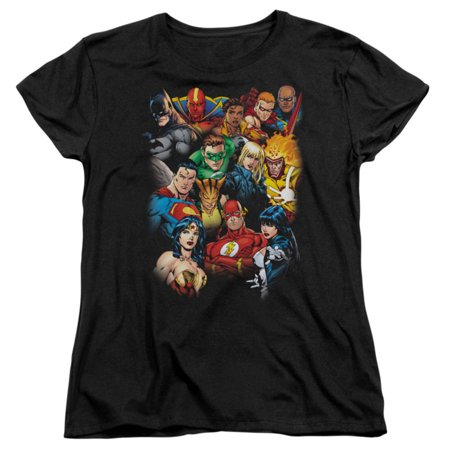 Justice League Of America  The League's All Here Girls Jr Black - Justice League Girl