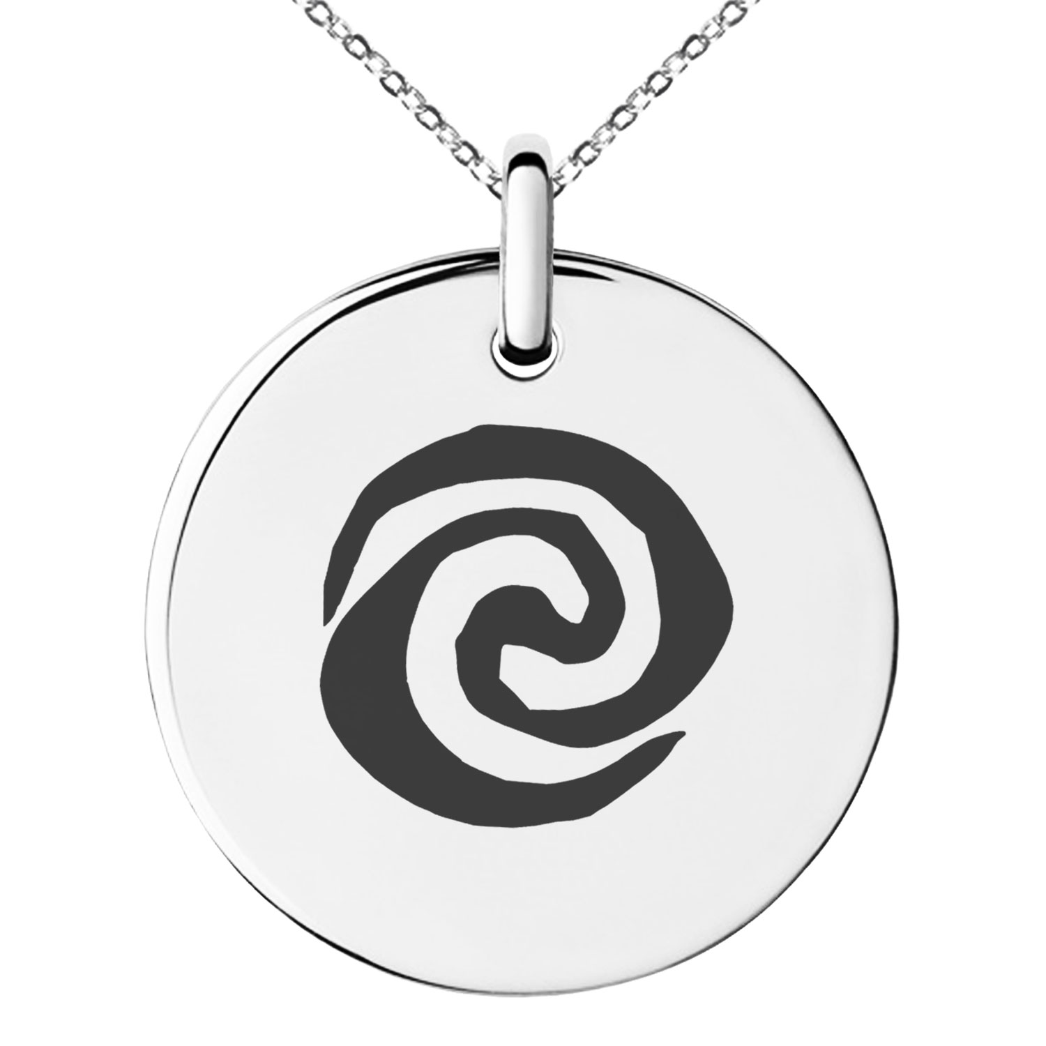 Stainless Steel Disney Moana Water Swirl Logo Engraved Small Medallion Circle Charm Pendant Necklace