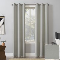 Woven Geometric Room Darkening Grommet Curtain Panel