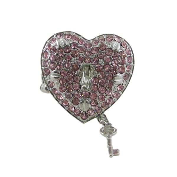 Heart Lock and Key Stretchy Ring Oversize by