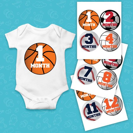 Sports Infant Baby Mobile Shower - Monthly Baby Stickers Sports Ball Great Shower Gift or Photo Keepsake for Scrapbook Newborn Infant Milestone Onesie Photo Prop JPS12