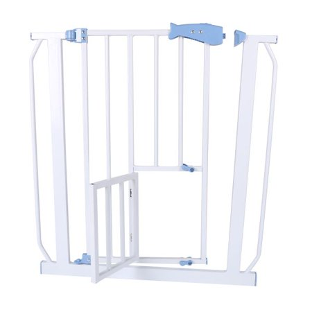 Easy Step Walk Thru Baby Gate with Swing Door, White, Fits Spaces ...