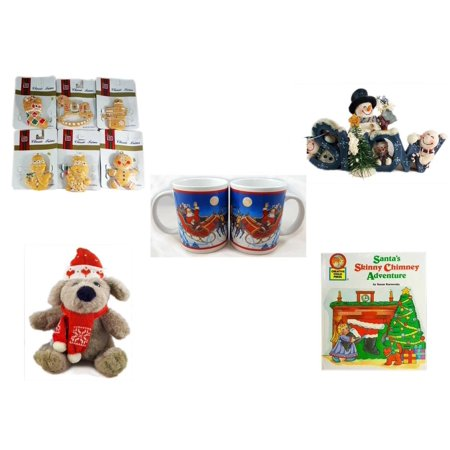 Christmas Fun Gift Bundle [5 Piece] - Brite Star Classic Trims Shortbread Cookie Ornament Set 6 - Crazy Mountain Snowman Family