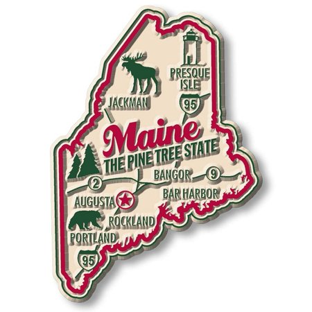 Maine Premium State Map Magnet