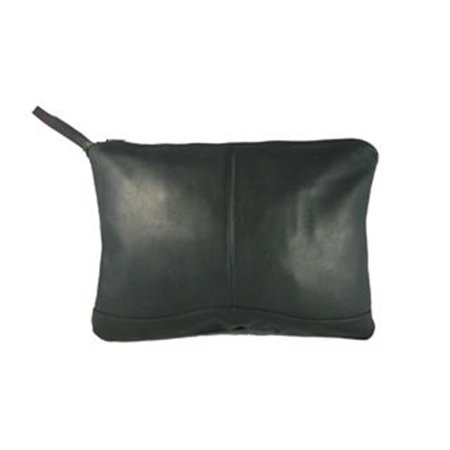 Leather Envelope Portfolio w Hide-Away Wrist Strap (Black)