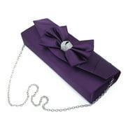 Elegant Satin Flap Bow Crystal Clutch Evening Bag