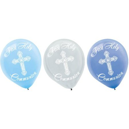 First Holy Communion Blue Latex Balloons - - First Communion Banner Ideas