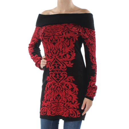 INC Womens Red Printed Long Sleeve Off Shoulder Sweater Petites  Size: XS