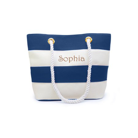 Personalized Small Blue Canvas Beach Tote Bag w/Laser Engraved Name