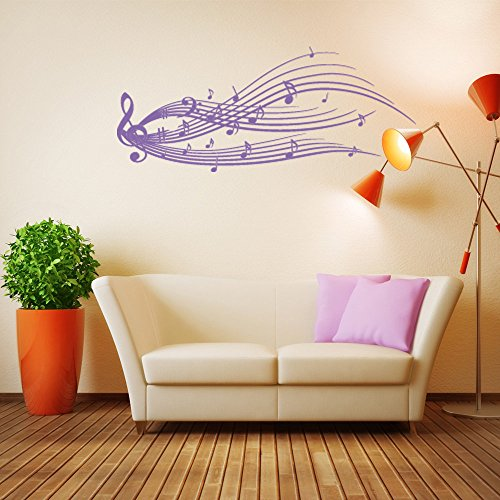 Music Staff Wall Decal - Musical Notes Wall Sticker, Treble Clef Vinyl Wall Art, Music Home Decor, Music Notes Wall Mural - 2191 - 91in x 46in, Black