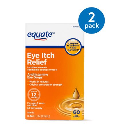 4 Eye Relief ((2 Pack) Equate Eye Itch Relief Antihistamine Eyedrops, 60 Ct, 0.34)