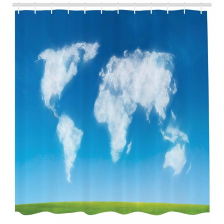 World Map Print Fabric.World Map Shower Curtain Graphic Design Of Shaped Clouds In The Sky