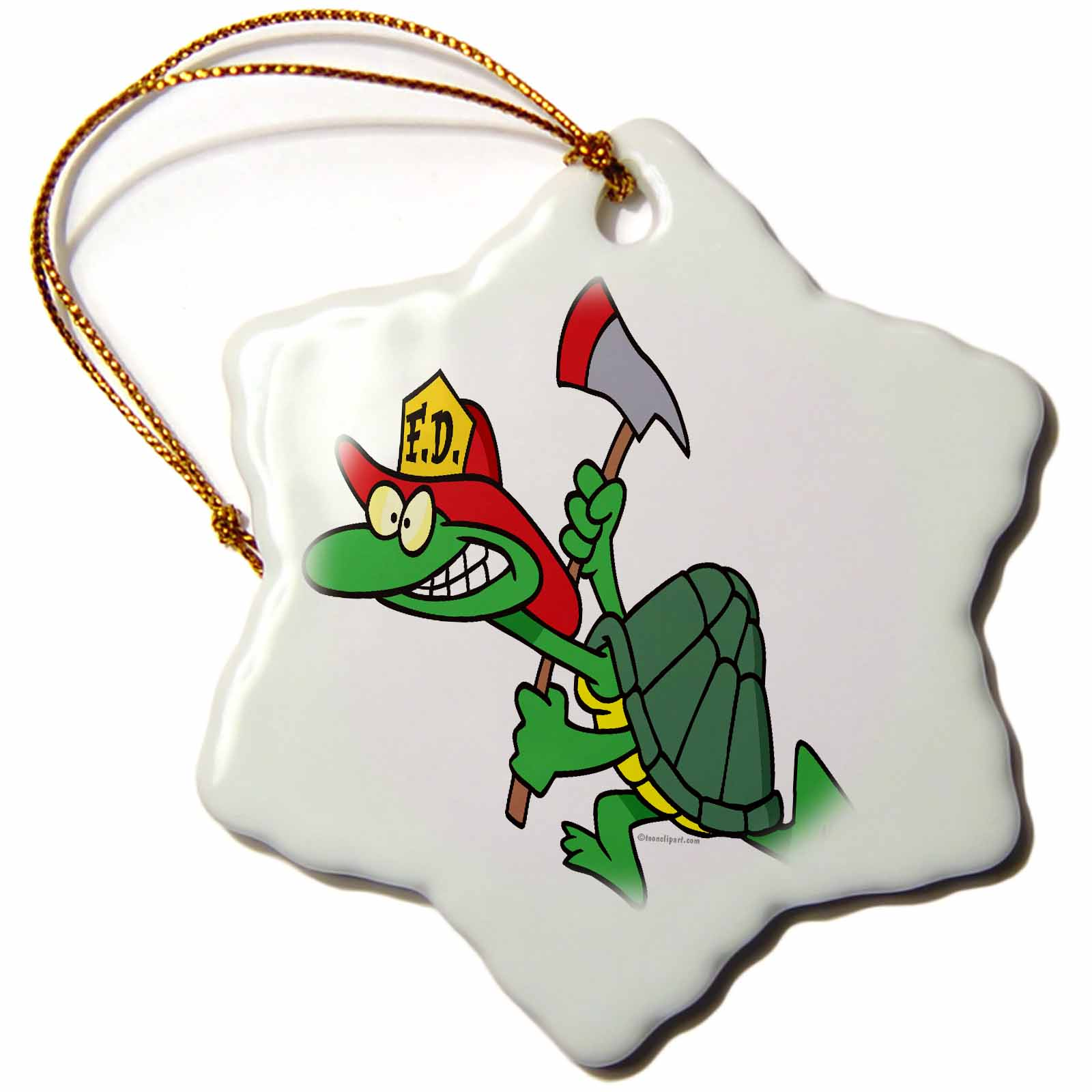 3dRose Funny Fireman Firefighter Turtle Cartoon, Snowflake Ornament, Porcelain, 3-inch