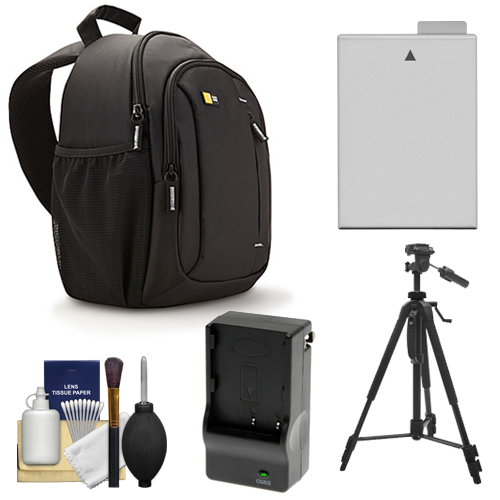 Case Logic TBC-410 Digital SLR Camera Sling Case (Black) with LP-E8 Battery & Charger + Tripod + Kit for Canon Rebel T3i, T4i, T5i