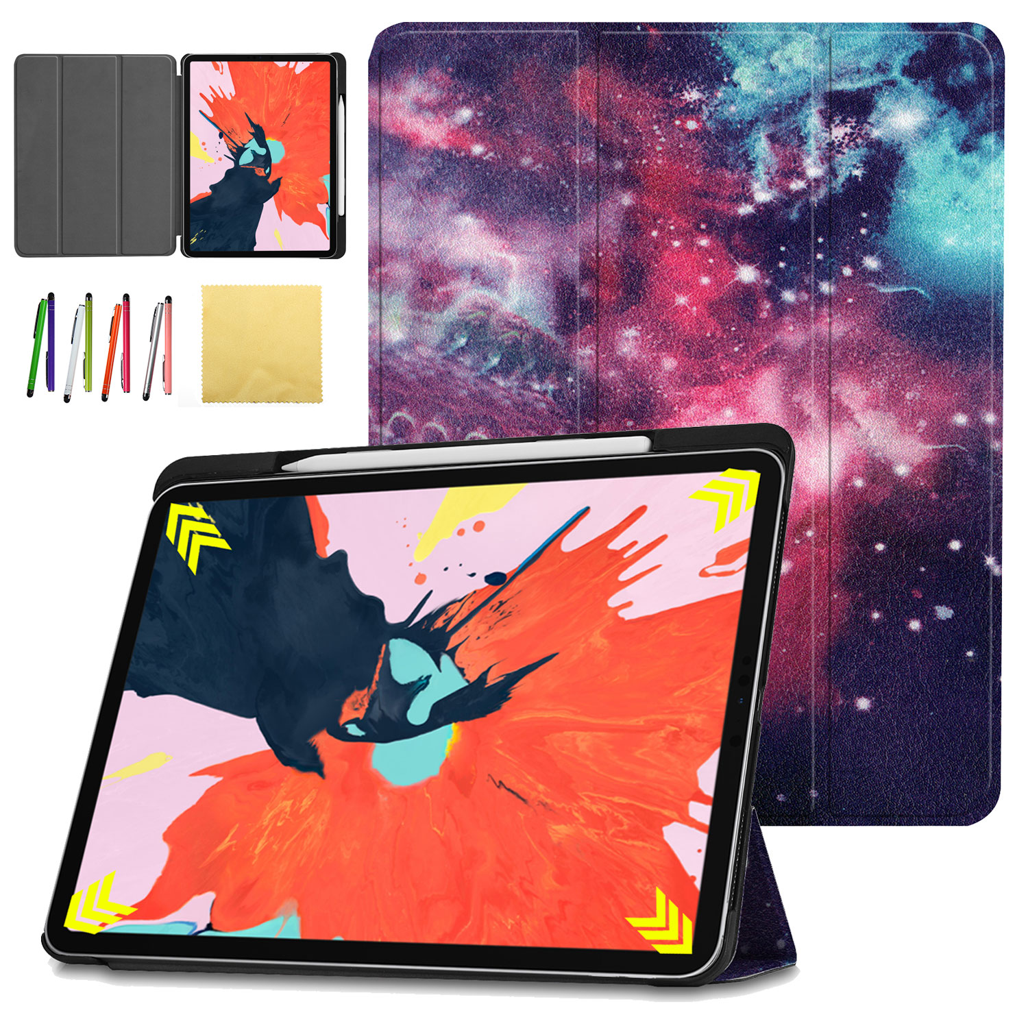 iPad Pro 12.9 Inch 2018 Case, Allytech Slim Lightweight Shell [Support Magnetically Attach Charge/Pair] Stand Cover with Auto Wake/Sleep for New iPad Pro 12.9 Inch 2018 (3rd Gen), Galaxy