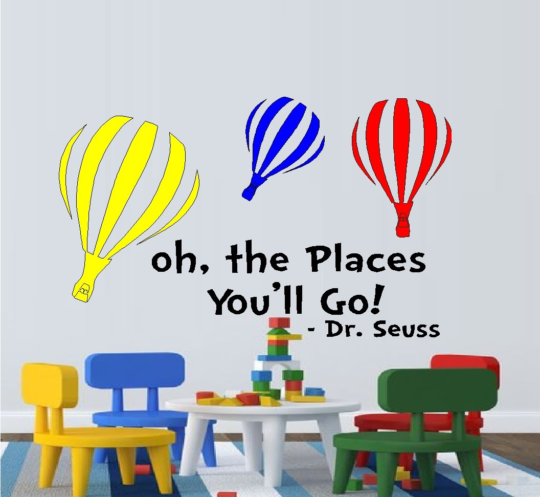 "Decal ~ Oh The Places You'll go ~ Colored Balloons:  WALL  DECAL, Dr. Seuss Theme HOME DECOR 13"" X 22"""