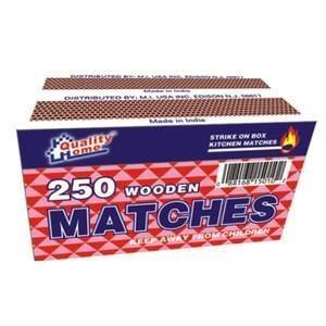 Quality Home 250 Wooden Matches, One box of 250 safety