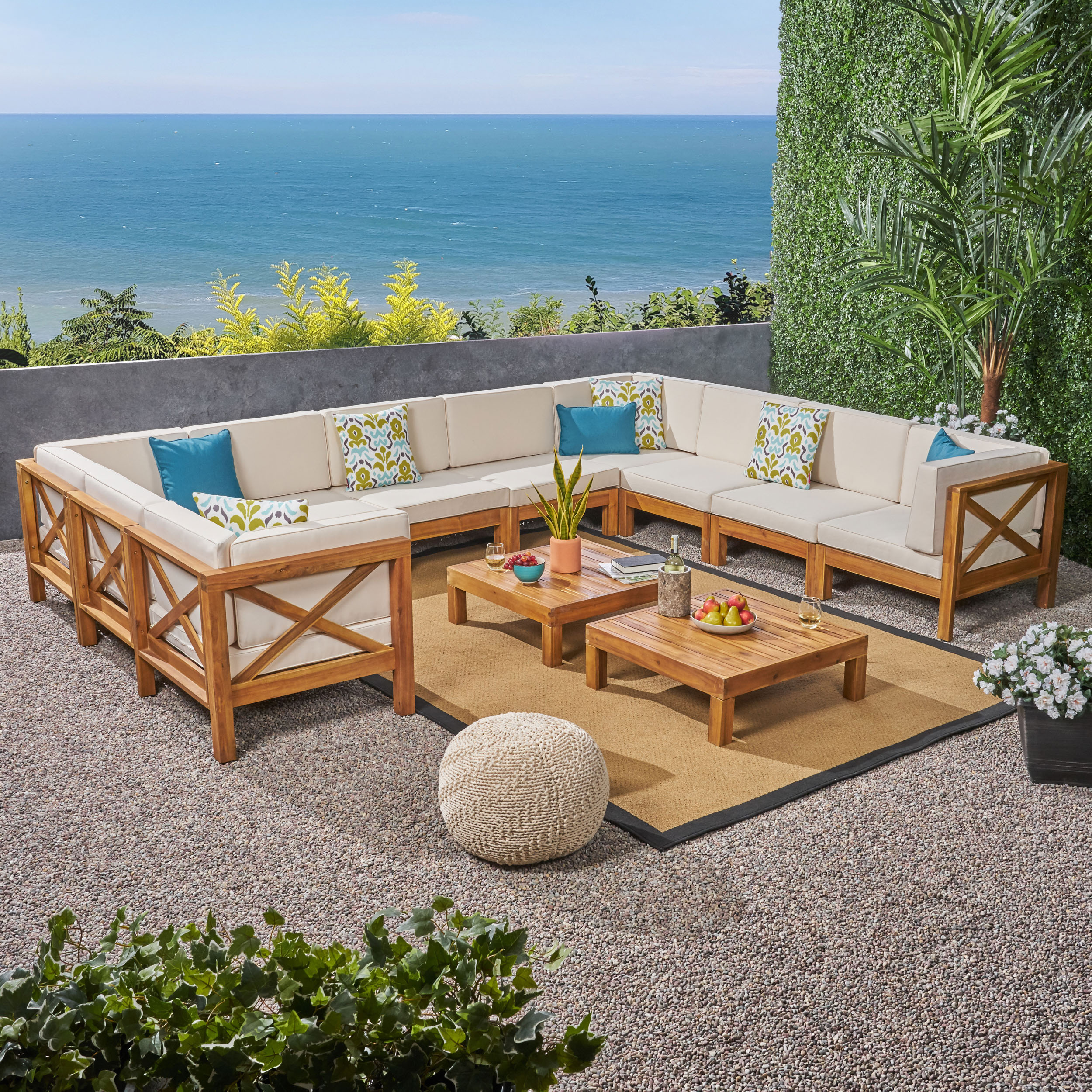 Elisha Outdoor 12 Piece Acacia Wood Sectional Sofa Set with Cushions and Coffee Tables, Gray, White
