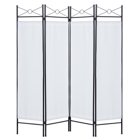 Best Choice Products 6ft 4-Panel Folding Privacy Screen Room Divider Decoration Accent for Bedroom, Living Room, Office w/ Steel Frame - White Design Room Divider 4 Panel