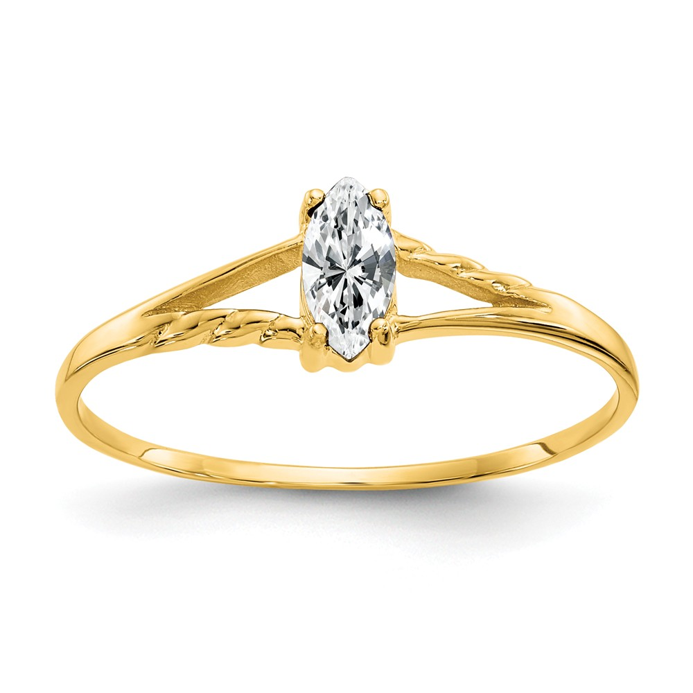10K Yellow Gold Polished Geniune White Topaz Birth Month Ring