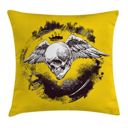 Tattoo Decor Throw Pillow Cushion Cover, The Death Angel Crowned Skull with Wide Magnificent Feather Wings, Decorative Square Accent Pillow Case, 16 X 16 Inches, Yellow Back and White, by Ambesonne