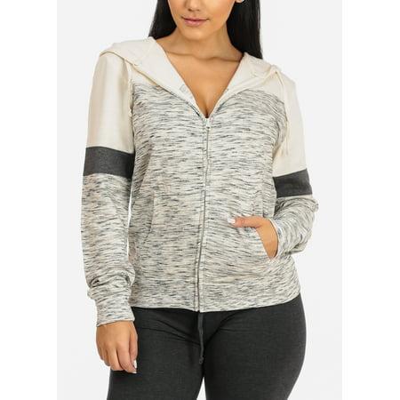 Womens Long Sleeve Half Zip (Womens Juniors Cute Cozy Long Sleeve Zip Up 2 Tone Print Ivory Hoodie Sweatshirt Sweater 40252S)