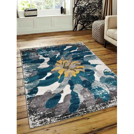 Rugsotic Carpets Machine Woven Heatset Polypropylene 8'x10' Area Rug Floral Silver Blue M00032 ()