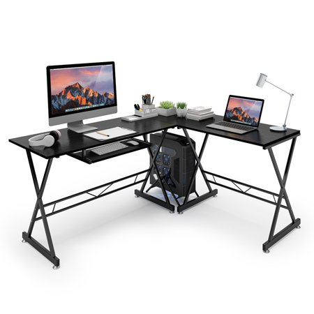 Gaming Desks, L-Shaped Corner Computer Desk PC Gaming Table Laptop Study Workstation with Easy-Glide Keyboard Tray and Free-Standing CPU Stand, Spacious Work Area for Study Home Office,