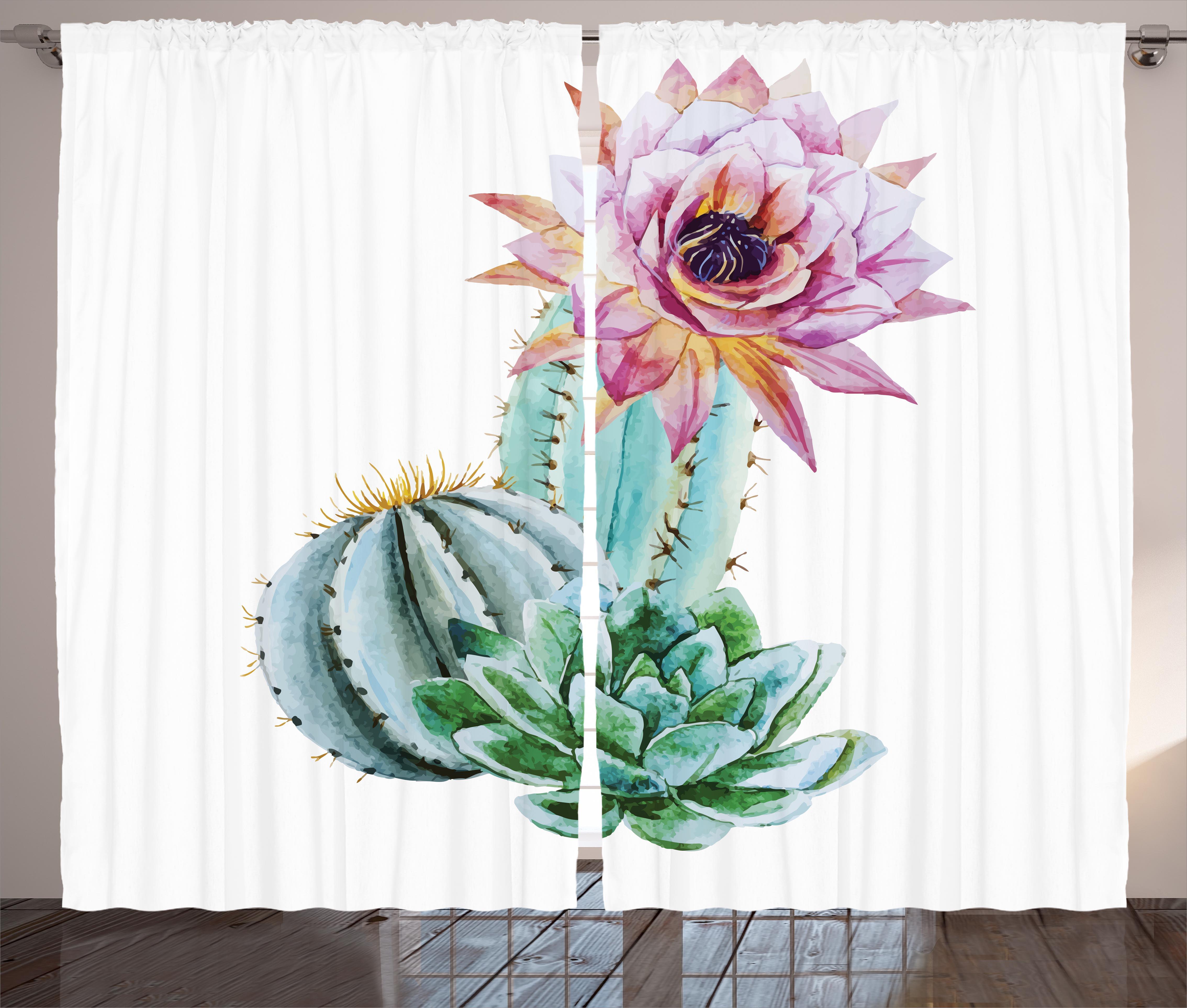 Cactus Decor Curtains 2 Panels Set, Cactus Spikes Flower